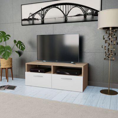 vidaXL TV Ormarić od Iverice 95x35x36 cm Boja Hrasta i Bijela