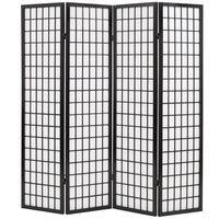 vidaXL Sklopiva sobna pregrada s 4 panela u japanskom stilu 160x170 cm crna