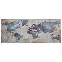 vidaXL Set zidnih slika na platnu s kartom svijeta plavi 200 x 80 cm