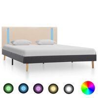 vidaXL Okvir za krevet od tkanine LED krem i tamnosivi 140 x 200 cm