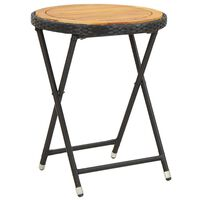 vidaXL Stolić za čaj crni 60 cm poliratana masivno bagremovo drvo