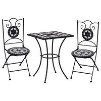 vidaXL 3-dijelni bistro set s keramičkim pločicama crno-bijeli