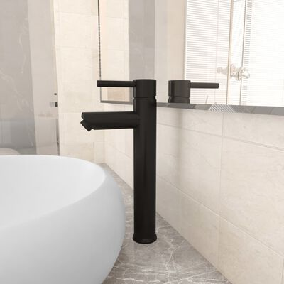 vidaXL Kupaonska miješalica crna 12 x 30 cm
