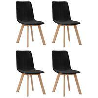 vidaXL Blagovaonske stolice od tkanine 4 kom crne