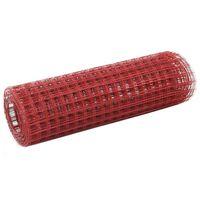 vidaXL Žičana mreža od čelika s PVC oblogom za kokoši 25 x 0,5 m crvena