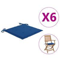 vidaXL Jastuci za vrtne stolice 6 kom kraljevski plavi 40 x 40 x 4 cm