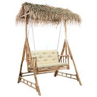 vidaXL Ljuljačka za 2 osobe s palminim lišćem i jastukom 202 cm bambus