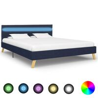 vidaXL Okvir za krevet od tkanine s LED svjetlom plavi 120 x 200 cm