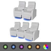 vidaXL Dvodijelni set LED Fotelje 2+3 sjedala Umjetne koža Bijela