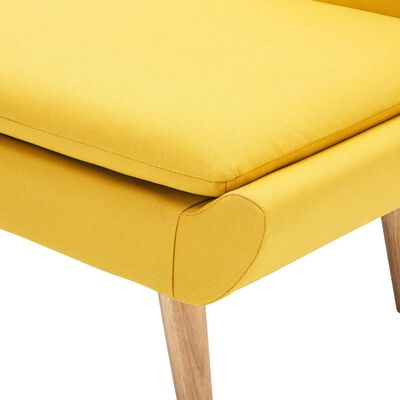 vidaXL Fotelja od tkanine s naslonom za noge žuta