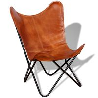 vidaXL Butterfly stolica od prave kože smeđa