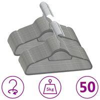 vidaXL 50-dijelni set vješalica za odjeću protuklizni sivi baršunasti