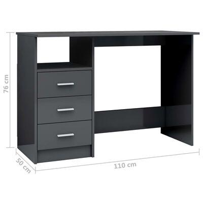 vidaXL Radni stol s ladicama visoki sjaj sivi 110 x 50 x 76 cm iverica