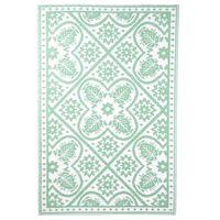 Esschert Design vanjski tepih 182x122 cm zeleno-bijeli uzorak pločica