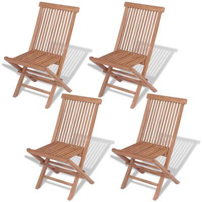 vidaXL Sklopive vrtne stolice 4 kom od masivne tikovine