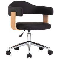 vidaXL Okretna uredska stolica od savijenog drva i umjetne kože crna