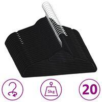 vidaXL 20-dijelni set vješalica za odjeću protuklizni crni baršunasti