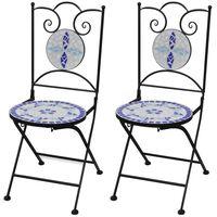 vidaXL Sklopive bistro stolice 2 kom keramičke plavo-bijele