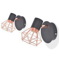 vidaXL Zidna svjetiljka 2 kom E14 crna i bakrena