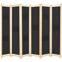 vidaXL Sobna pregrada sa 6 panela od tkanine 240 x 170 x 4 cm crna