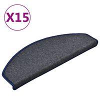 vidaXL Tepisi za stepenice 15 kom tamnosivi i plavi 65 x 24 x 4 cm