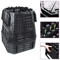 vidaXL Vrtni komposter crni 93,3 x 93,3 x 113 cm 740 L