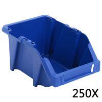 vidaXL 250 kom Skladišni složivi spremnici 103 x 165 x 76 mm plavi