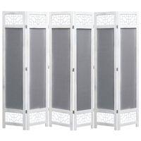 vidaXL Sobna pregrada sa 6 panela od tkanine siva 210 x 165 cm