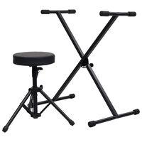 vidaXL Set stalka i stolca za klavijature crni