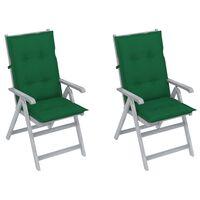 vidaXL Garden Reclining Chairs 2 pcs with Cushions Solid Acacia Wood (310617+314248)