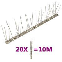 vidaXL Set od 20 šiljaka u 5 redova protiv ptica i golubova 10 m