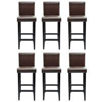 vidaXL Barski stolci od umjetne kože 6 kom tamnosmeđi
