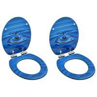 vidaXL Toaletne daske s poklopcem 2 kom MDF plave s uzorkom kapi vode