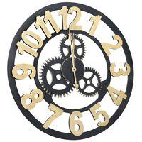vidaXL Zidni sat zlatno-crni 70 cm MDF