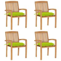 vidaXL Složive vrtne stolice s jastucima 4 kom od masivne tikovine