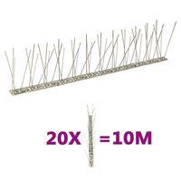 vidaXL Set od 20 šiljaka u 2 reda protiv ptica i golubova 10 m