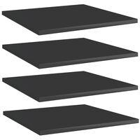 vidaXL Police za knjige 4 kom visoki sjaj crne 40x40x1,5 cm iverica