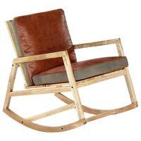 vidaXL Stolica za ljuljanje od prave kože i masivnog drva manga smeđa
