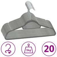 vidaXL 20-dijelni set vješalica za odjeću protuklizni sivi baršunasti