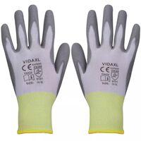 vidaXL Radne rukavice PU 24 Para bijela-siva Veličina 10 / XL