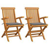 vidaXL Vrtne stolice sa sivim jastucima 2 kom od masivne tikovine