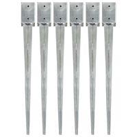 vidaXL Šiljci za tlo 6 kom srebrni 9 x 9 x 90 cm od pocinčanog čelika