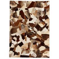 vidaXL Tepih od prave kože s pačvorkom 160 x 230 cm smeđe-bijeli