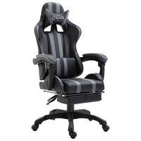 vidaXL Igraća stolica od umjetne kože s osloncem za noge siva