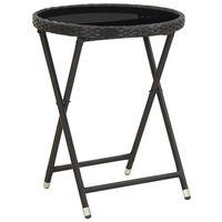 vidaXL Stolić za čaj crni 60 cm poliratana od kaljenog stakla