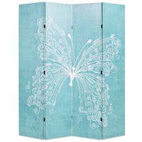 vidaXL Sklopiva sobna pregrada s uzorkom leptira 160 x 170 cm plava