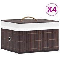 vidaXL Kutije za pohranu od bambusa 4 kom smeđe