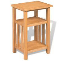 vidaXL Bočni stol od masivne hrastovine sa policom 27 x 35 x 55 cm