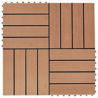 vidaXL Pločice za trijem 11 kom WPC 30 x 30 cm 1 m² boja tikovine