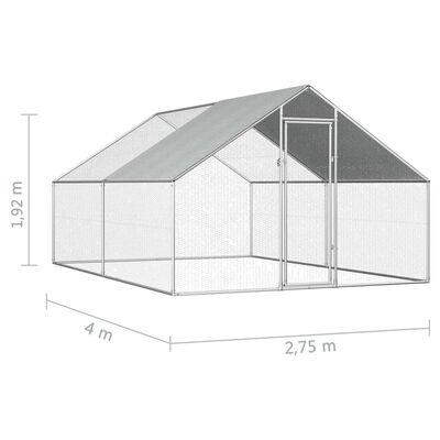 vidaXL Vanjski kavez za kokoši od pocinčanog čelika 2,75 x 4 x 1,92 m